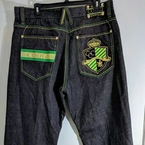 Coogi embroidered black & green denim pants 38x34
